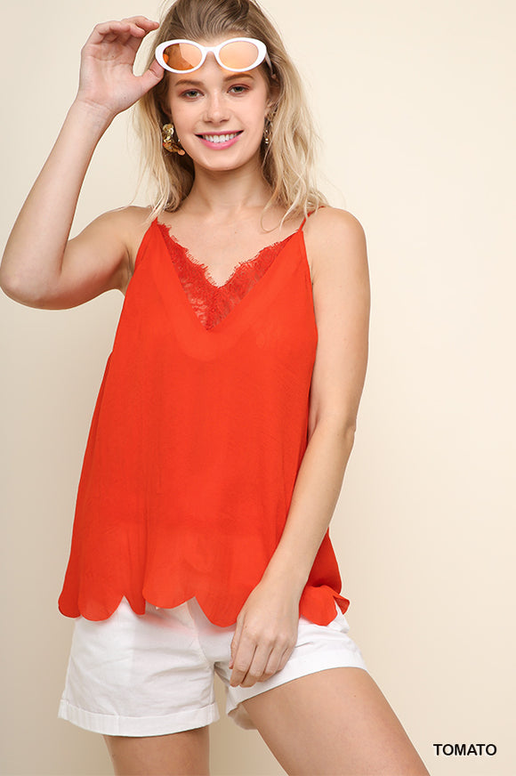 G1700-T-S-Umgee-V-Neck Eyelash Trim Cami Top-RK Collections Boutique