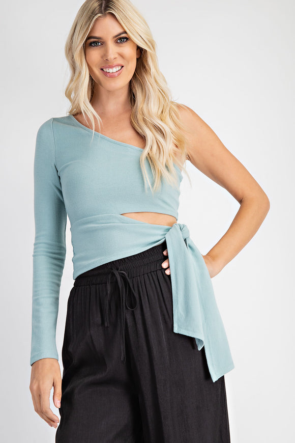 One shoulder side tie top