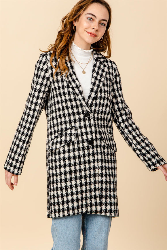 HF21C202-1-HyFve-Houndstooth car coat-RK Collections Boutique