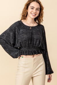 HF21C625-1-HyFve-Balloon sleeve crop top with elastic waist-RK Collections Boutique