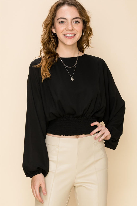 Smocked waist split back chiffon dolman top