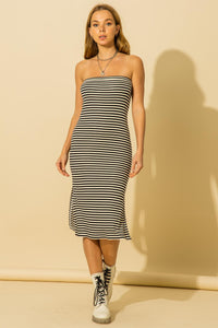 stripe strapless dress with back cutout