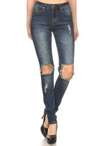HP2472-1-JC & JQ-High Waist ripped knees skinny jean-RK Collections Boutique