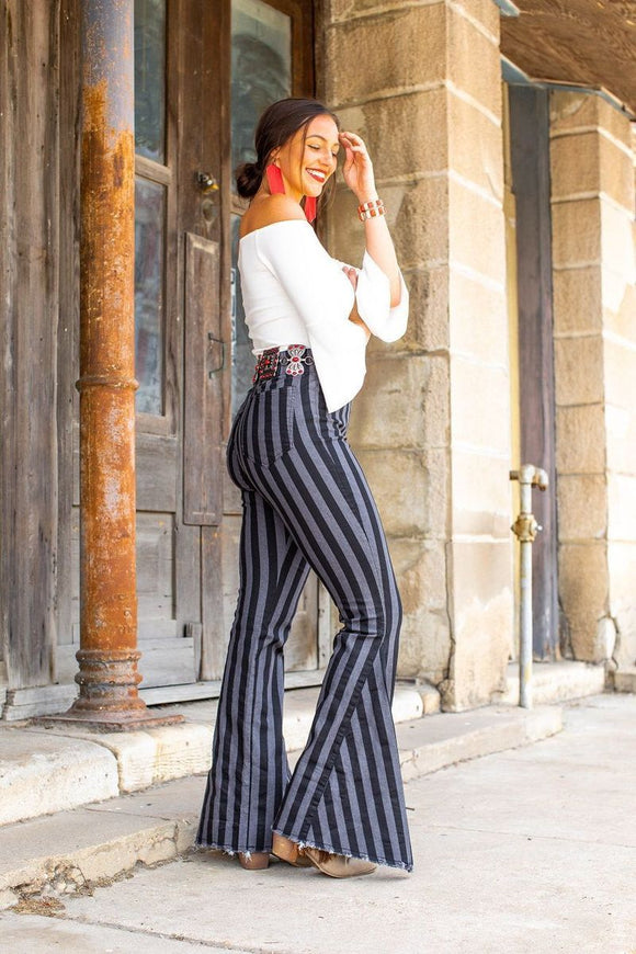 Black Stripe High Waist Pull-on Bell Bottom Jean