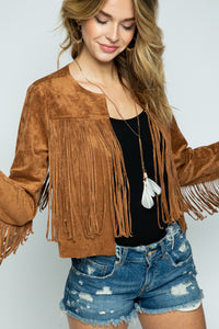 suede crop jacket with fringe