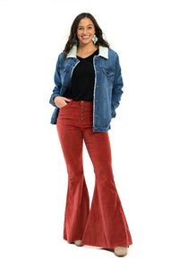 Corduroy high waist bell bottoms with exposed buttons