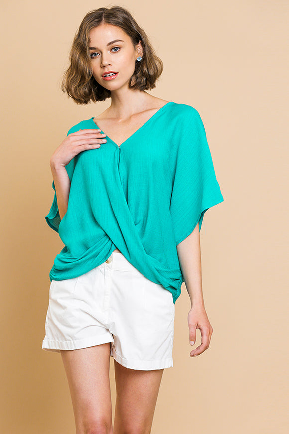 Short Dolman Sleeve V-Neck Crossbody Top