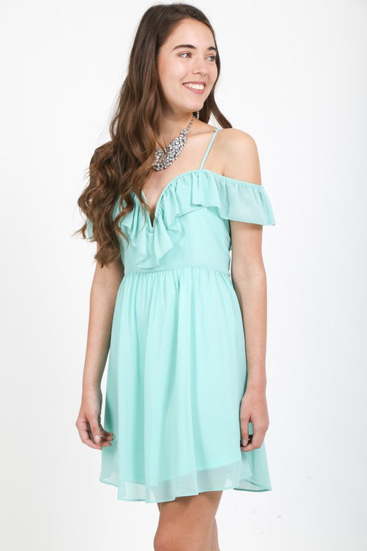 Chiffon off the shoulder fit and flare dress with deep v-neck
