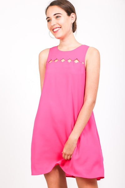 a-line sheath dress with diamond cut outs - by Love Richie - available at rkcollections.myshopify.com - Hot Pink / LARGE - Dress