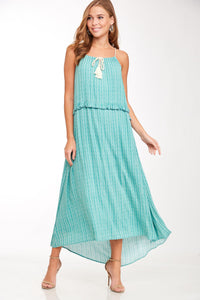 tassel tie chevron maxi dress