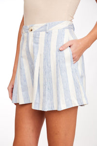 Striped Pleated Short Shorts