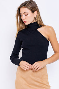 turtleneck one sleeve sweater