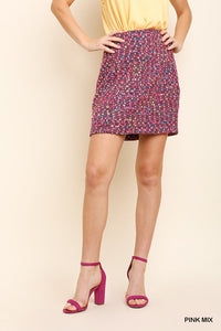 N6286-P-S-Umgee-High Waist Boucle Tweed Mini Skirt-RK Collections Boutique