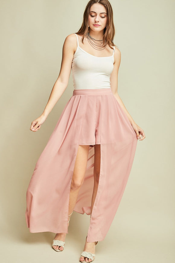 P7358-P-S-Entro-High-waist shorts with maxi length skirt panel-RK Collections Boutique