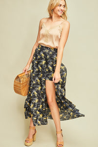 P8100-N-S-Entro-Floral print maxi shorts-RK Collections Boutique
