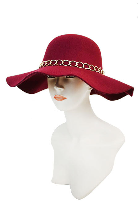 SN-561-2-Cap Zone-Floppy Hat Gold Chained Band-RK Collections Boutique