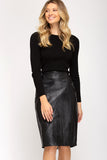 Embossed snakeskin pencil skirt