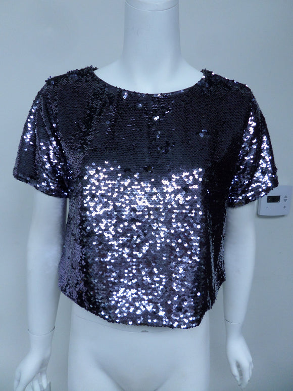 Sequin short sleeve crop top