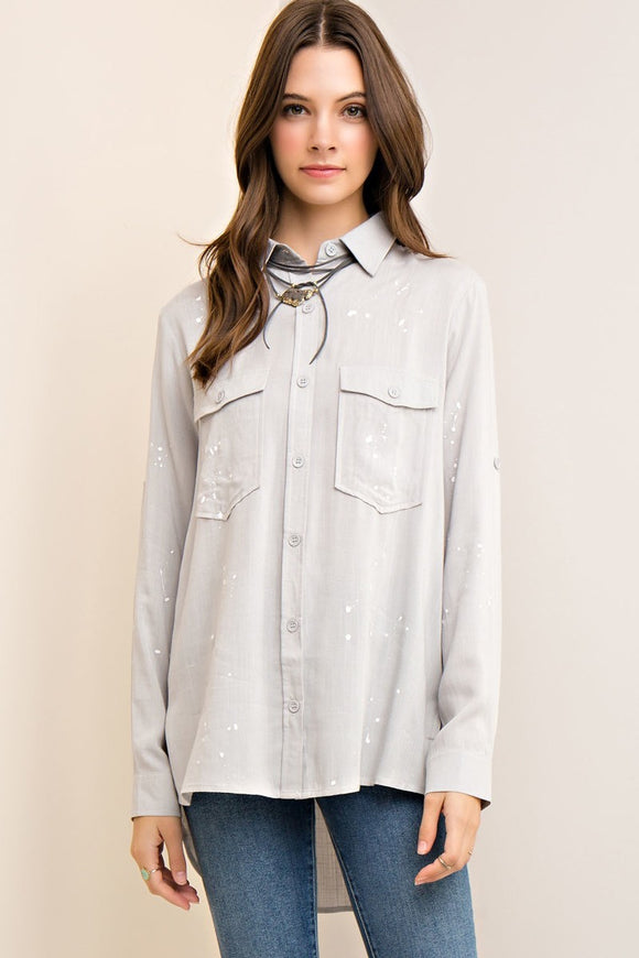 paint splash button down shirt