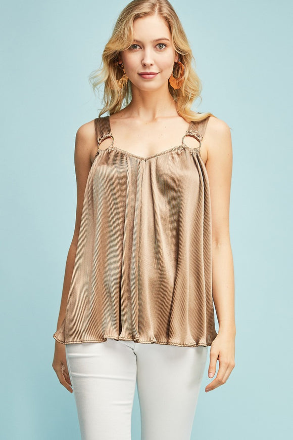 pleated v-neck metal rings tank