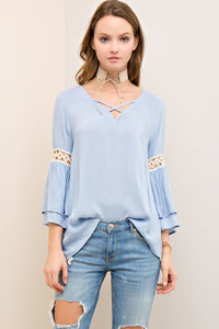 T6795-B-S-Entro-3/4 sleeve ruffled bell sleeve blouse-RK Collections Boutique