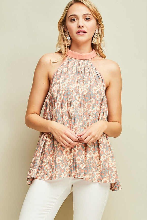 Floral print folded halter neck top