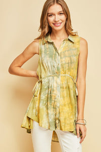 T7346-O-S-Entro-Tie dye button-down-RK Collections Boutique