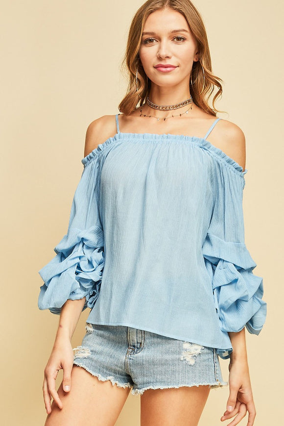 off the shoulder top with ruched sleeves