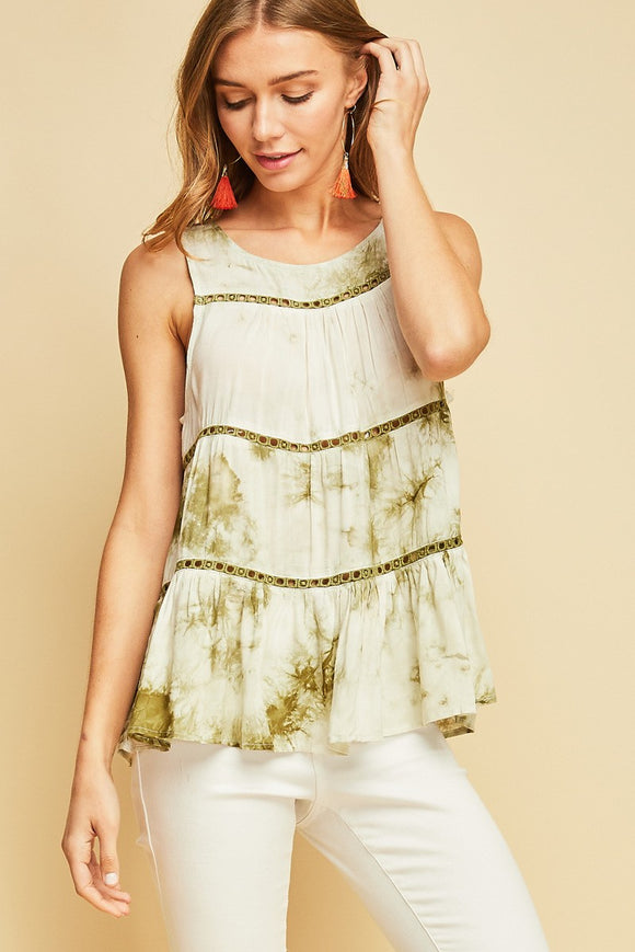 Tie dye tiered top featuring crochet detail