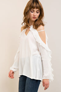 T7441-OW-S-Entro-cold shoulder ruffle top-RK Collections Boutique