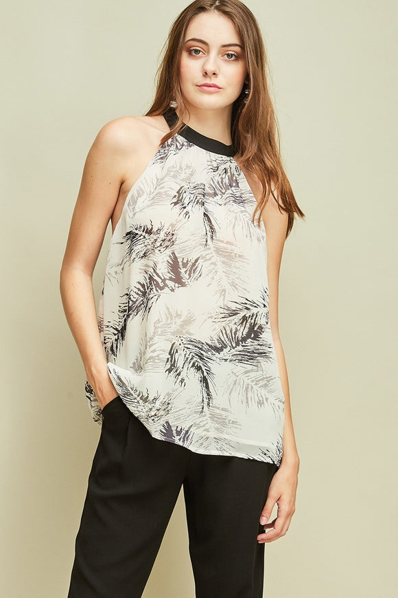 feather printed halter top