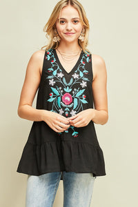 T7631-B-S-Entro-V-neck sleeveless embroidered top-RK Collections Boutique