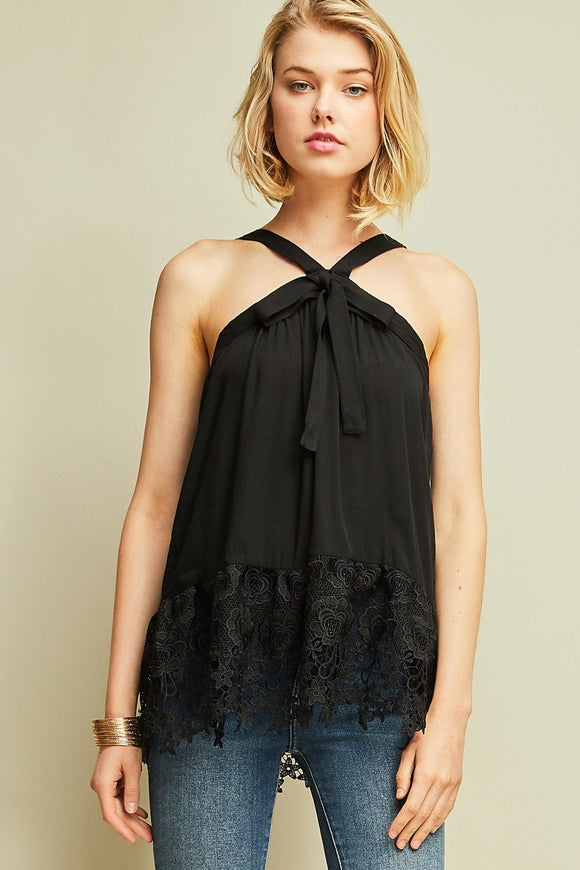 halter-style top with lace