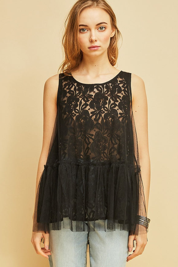 mesh peplum top over lace