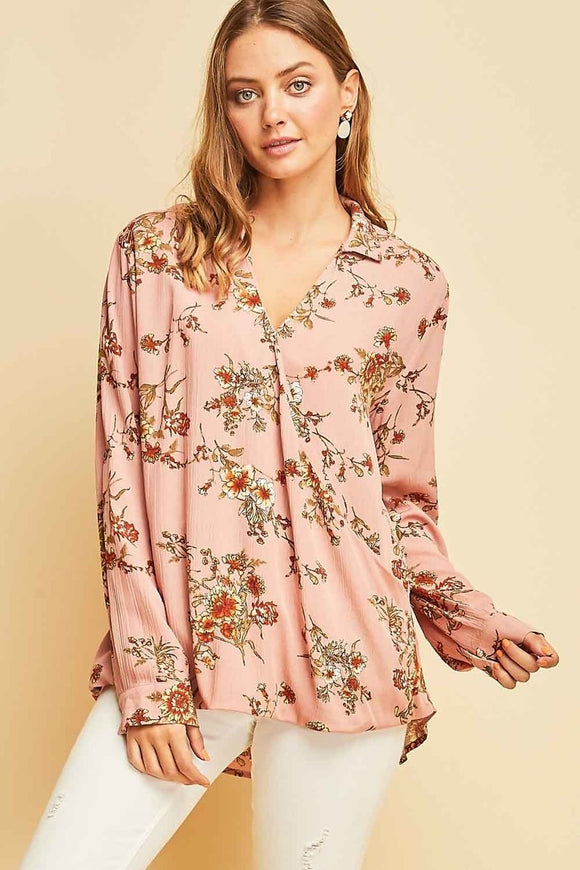 T8912-S-S-Entro-Floral print surplice woven top-RK Collections Boutique