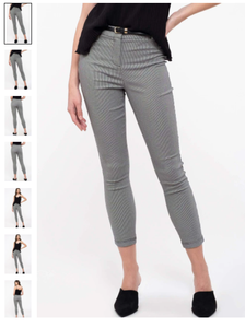 high waist belted plaid stretch skinny pants
