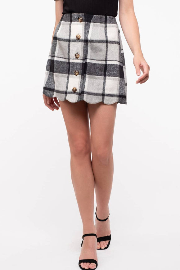 Scallop hem button down plaid mini skirt
