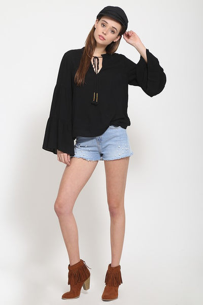 Woven boho top with bell sleeves