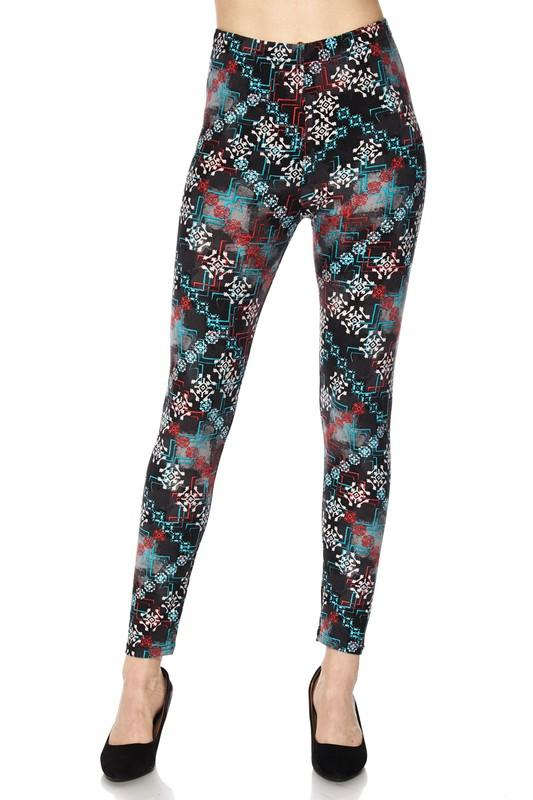 U-F642-1-2NE1-Abstract patterned Print Brushed Ankle Leggings-RK Collections Boutique