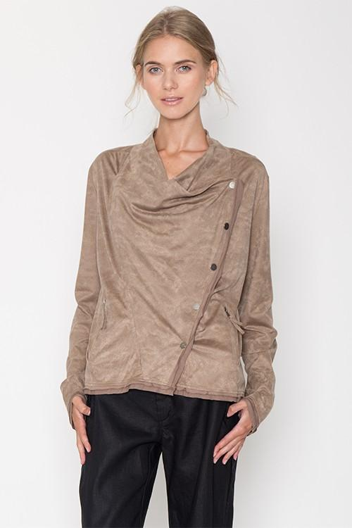 Asymmetrical Draped Motto Jacket - by Mur Mur - available at rkcollections.myshopify.com -  - Tops-Jacket