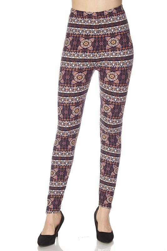 aztec tribal print yummy brushed ankle leggings - by 2NE1 - available at rkcollections.myshopify.com -  - Leggings