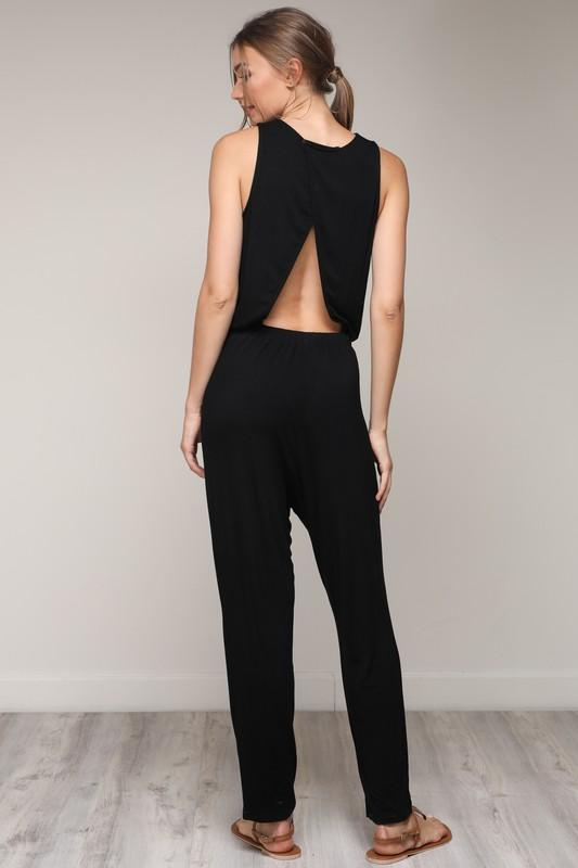 BACK OPEN SLEEVELESS JUMPSUIT - by Mustard Seed - available at rkcollections.myshopify.com -  - Jumpsuit