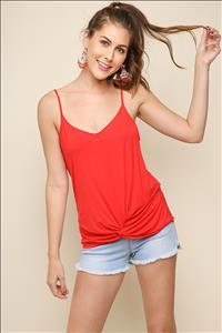 Basic Tank Top with Gathered Front Knot - by Umgee - available at rkcollections.myshopify.com -  - Tops