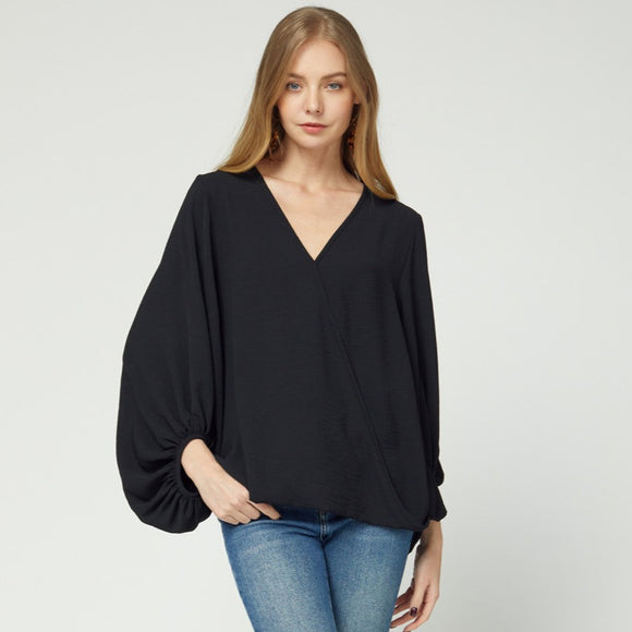5290-1-Entro-Solid v-neck wrap top with bubble sleeve-RK Collections Boutique