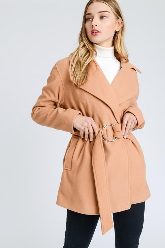 Belted Long Sleeve Midi French Coat - by Love Tree - available at rkcollections.myshopify.com -  - Tops-Jacket