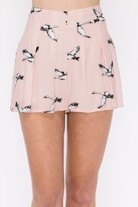 Bird Printed High-Waisted Shorts - by HyFve - available at rkcollections.myshopify.com -  - Shorts