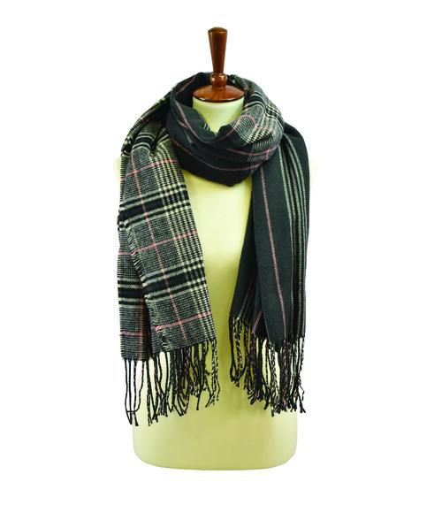 black and pink plaid scarf with fringe - by Lava Accessories - available at rkcollections.myshopify.com -  - Accessory:Scarf