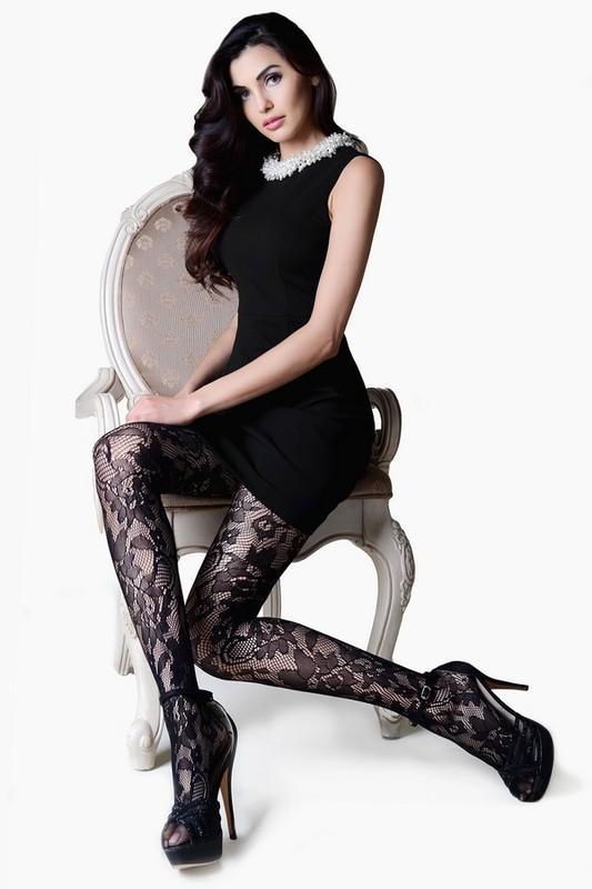 black lace pantyhose - by Yelete - available at rkcollections.myshopify.com -  - Accessory:Intimate