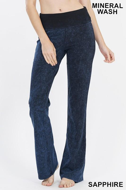 bootcut mineral wash fold over waist pants - by Zenana - available at rkcollections.myshopify.com -  - Pants