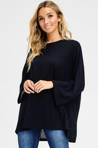Boxy Fit Waffle Round Neck 3/4 Sleeve Top - by Cherish USA - available at rkcollections.myshopify.com - Olive / LARGE - Tops-Long Sleeve
